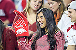 Arkansas Razorbacks fans in action during the Advocare V100 Texas Bowl game between the Arkansas Razorbacks and the Texas Longhorns at the NRG Stadium in Houston, Texas. Arkansas defeats Texas 31 to 7.