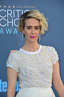 Sarah Paulson at the 22nd Annual Critics' Choice Awards at Barker Hangar, Santa Monica Airport. <br /> December 11, 2016<br /> Picture: Paul Smith/Featureflash/SilverHub 0208 004 5359/ 07711 972644 Editors@silverhubmedia.com