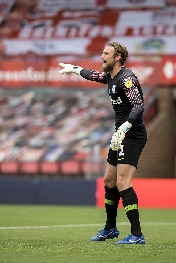 Preston North End's Declan Rudd gestures<br /> <br /> Photographer Andrew Kearns/CameraSport<br /> <br /> The EFL Sky Bet Championship - Brentford v Preston North End - Wednesday 15th July 2020 - Griffin Park - Brentford <br /> <br /> World Copyright © 2020 CameraSport. All rights reserved. 43 Linden Ave. Countesthorpe. Leicester. England. LE8 5PG - Tel: +44 (0) 116 277 4147 - admin@camerasport.com - www.camerasport.com