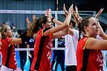 25.08.2018, …VB Arena, Bremen<br />Volleyball, LŠ&auml;nderspiel / Laenderspiel, Deutschland vs. Niederlande<br /><br />Jana Franziska Poll (#5 GER), Melanie Schšlzel / Schoelzel (#14 GER), Denise Hanke (#3 GER) enttŠuscht / enttaeuscht / traurig  nach Niederlage<br /><br />  Foto &copy; nordphoto / Kurth