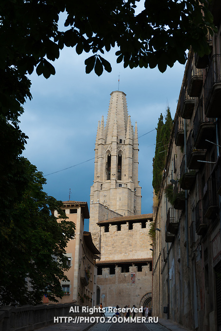 Bell tower of Basílica de Sant Feliu in Girona, Catalonia, Spain