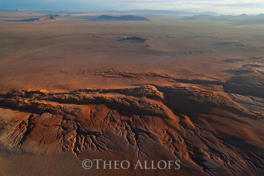 Namibia, Namib Desert, aerial of star dunes at eastern edge of the Namib Desert