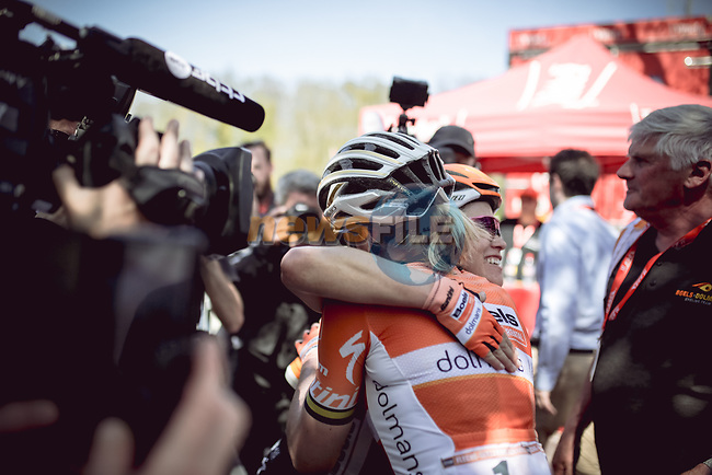 Race favourite Anna Van Der Breggen (NED) Boels Dolmans Cycling Team wins her 4th consecutive victory at La Fleche Wallonne Femmes 2018 running 118.5km from Huy to Huy, Belgium. 18/04/2018.<br /> Picture: ASO/Thomas Maheux   Cyclefile.<br /> <br /> All photos usage must carry mandatory copyright credit (© Cyclefile   ASO/Thomas Maheux)