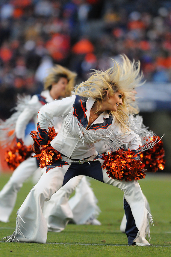 14 NOVEMBER 2010:  Broncos cheerleaders perform  during a regular season National Football League game between the Kansas City Chiefs and the Denver Broncos at Invesco Field at Mile High in Denver, Colorado. The Broncos beat the Chiefs 49-29.