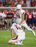 NWA Democrat-Gazette/BEN GOFF @NWABENGOFF<br /> Connor Limpert, with Jack Lindsey holding, puts Arkansas on the board with a 36 yard field goal in the second quarter vs Ole Miss Saturday, Sept. 7, 2019, at Vaught-Hemingway Stadium in Oxford, Miss.