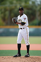 GCL Pirates relief pitcher Juan Henriquez (36) gets ready to deliver a pitch during the first game of a doubleheader against the GCL Yankees East on July 31, 2018 at Pirate City Complex in Bradenton, Florida.  GCL Yankees East defeated GCL Pirates 2-0.  (Mike Janes/Four Seam Images)