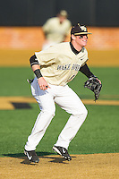 at Wake Forest Baseball Park on February 17, 2014 in Winston-Salem, North Carolina.  The Demon Deacons defeated the Thundering Herd 4-3.  (Brian Westerholt/Four Seam Images)