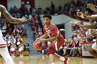NWA Democrat-Gazette/CHARLIE KAIJO Arkansas Razorbacks guard Desi Sills (0) dribbles during the second half of the NCAA National Invitation Tournament, Saturday, March 23, 2019 at the Simon Skjodt Assembly Hall at the University of Indiana in Bloomington, Ind. The Arkansas Razorbacks fell to the Indiana Hoosiers 63-60.