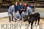Gerard Carmody Castleisland Mart makes a presentation to  Patrick Leen Causeway and students from Tralee CBS who raised a calf and sold it in the Mart on Monday front l-r:  Darragh O'Brien Darragh O'Regan back row: Ruairi Rutledge, Phil Hanrahna, Darragh Regan, Gerard Carmody, Patrick Leen Causeway and Michael Scanlon