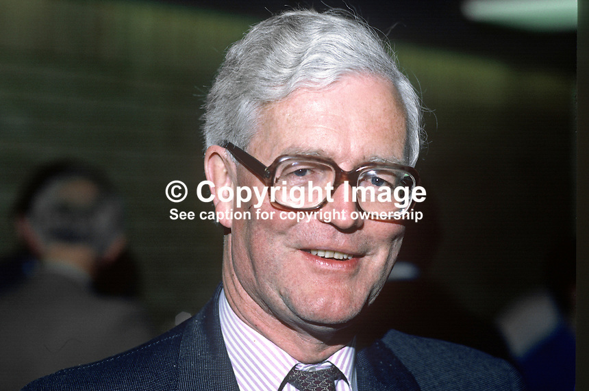 Douglas Hurd, MP, Conservative Party, UK, Secretary of State for N Ireland, 19850603DH1.<br />