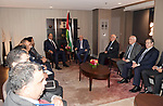 Palestinian President Mahmoud Abbas meets with the Minister of Foreign Affairs of Kuwait, in New York a day before the start of the 73rd session of the UN General Assembly, on September 24, 2018. Photo by Thaer Ganaim