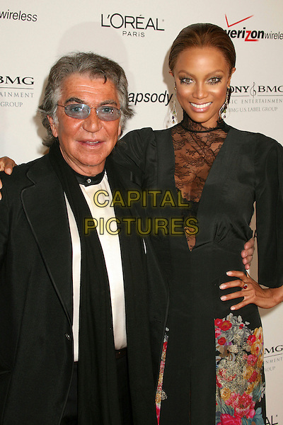 ROBERTO CAVALLI & TYRA BANKS.Clive Davis 2007 Pre-Grammy Awards Party at the Beverly Hilton Hotel, Beverly Hills, USA..February 10th, 2007.half length black dress lace pink gold floral print suit scarf.CAP/ADM/BP.©Byron Purvis/AdMedia/Capital Pictures