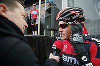 Greg Van Avermaet (BEL) interviewed before the start<br /> <br /> Omloop Het Nieuwsblad 2014