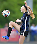 Columbia's Ainsley Jacobus settles a ball in the Class 1A girls soccer supersectional game played at Columbia High School in Columbia, IL on Tuesday May 21, 2019.<br /> Tim Vizer/Special to STLhighschoolsports.com