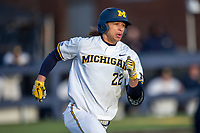 Michigan Wolverines outfielder Jordan Brewer (22) hustles down the first base line against the San Jose State Spartans on March 27, 2019 in Game 2 of the NCAA baseball doubleheader at Ray Fisher Stadium in Ann Arbor, Michigan. Michigan defeated San Jose State 3-0. (Andrew Woolley/Four Seam Images)