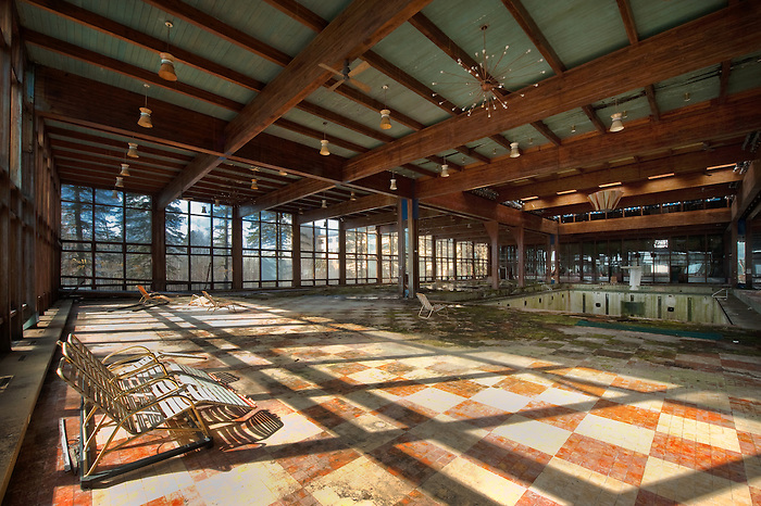 The Interior of the Grossinger's Pool that is Deserted