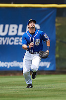Biloxi Shuckers outfielder Nathan Orf (4) tracks down a fly ball during a game against the Birmingham Barons on May 24, 2015 at Joe Davis Stadium in Huntsville, Alabama.  Birmingham defeated Biloxi 6-4 as the Shuckers are playing all games on the road, or neutral sites like their former home in Huntsville, until the teams new stadium is completed in early June.  (Mike Janes/Four Seam Images)