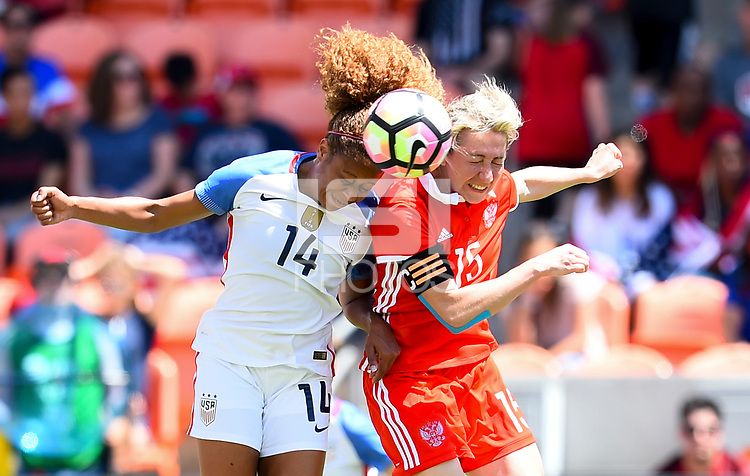 Houston, TX - April 9, 2017: The U.S. Women's national team go up 4-1 over Russia in an international friendly match at BBVA Compass Stadium.