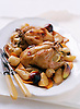 Roast Maple Syrup Poussins with Roasted Fruits and Vegetables.