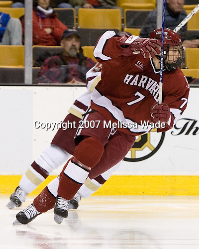 Ryan Maki (Harvard University - Shelby Township, MI) - The Boston College Eagles defeated the Harvard University Crimson 3-1 in the first round of the 2007 Beanpot Tournament on Monday, February 5, 2007, at the TD Banknorth Garden in Boston, Massachusetts.  The first Beanpot Tournament was played in December 1952 with the scheduling moved to the first two Mondays of February in its sixth year.  The tournament is played between Boston College, Boston University, Harvard University and Northeastern University with the first round matchups alternating each year.