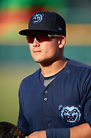 Mobile BayBears first baseman Matt Thaiss (21) warms up before a game against the Jacksonville Jumbo Shrimp on April 14, 2018 at Baseball Grounds of Jacksonville in Jacksonville, Florida.  Mobile defeated Jacksonville 13-3.  (Mike Janes/Four Seam Images)
