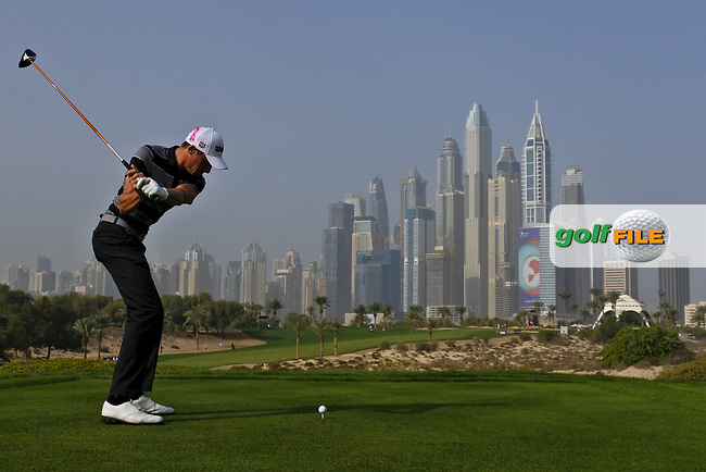 Benjamin Hebert (FRA) on the 8th tee during Round 2 of the Omega Dubai Desert Classic, Emirates Golf Club, Dubai,  United Arab Emirates. 25/01/2019<br /> Picture: Golffile | Thos Caffrey<br /> <br /> <br /> All photo usage must carry mandatory copyright credit (© Golffile | Thos Caffrey)