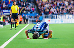 Stockholm 2014-08-31 Fotboll Allsvenskan Djurg&aring;rdens IF - Malm&ouml; FF :  <br /> Djurg&aring;rdens Haris Radetinac kysser gr&auml;smattan efter sitt 1-0 m&aring;l<br /> (Foto: Kenta J&ouml;nsson) Nyckelord:  Djurg&aring;rden DIF Tele2 Arena Malm&ouml; MFF jubel gl&auml;dje lycka glad happy