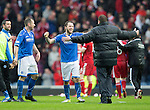 St Johnstone v Aberdeen...13.04.14    William Hill Scottish Cup Semi-Final, Ibrox<br /> Tommy Wright embraces Stevie May at full time<br /> Picture by Graeme Hart.<br /> Copyright Perthshire Picture Agency<br /> Tel: 01738 623350  Mobile: 07990 594431