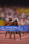 Australia's Kurt Fearnley finally picks up a gold medal, winning the men's marathon on the last day of competition in the Beijing Paralympic Games, 2008, His time was 1:23.17.