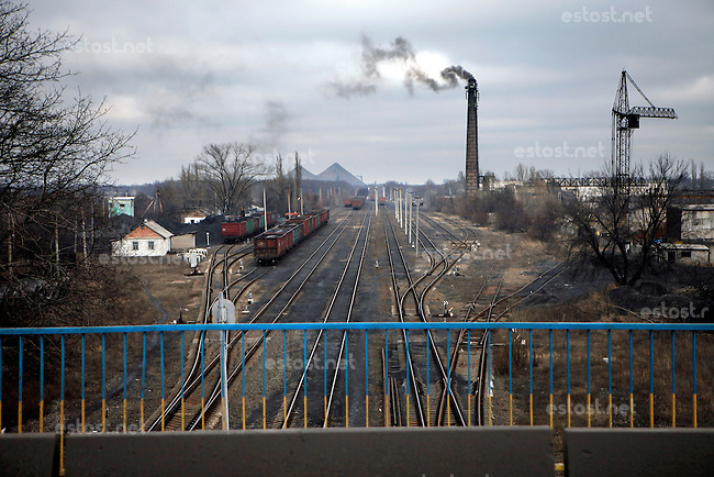 UKRAINE, 02.2016, Novohrodivka, Oblast Donetsk. Industrial outskirts with coal industry. (This is the place where the Right Sector unit with its foreign fighters of the Boom Stick Brotherhood is stationed.) © Timo Vogt/EST&OST
