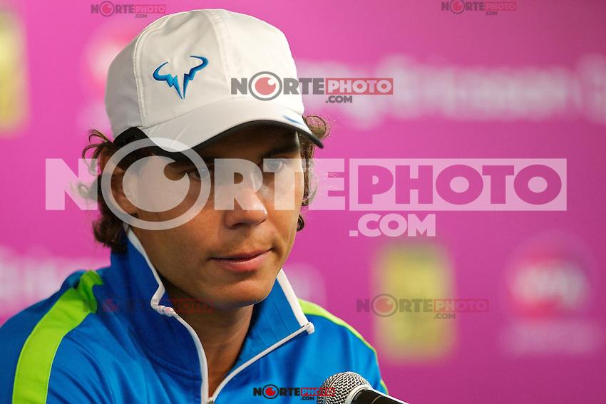 *30*marzo*: Rafael Nadal habla con la prensa despu&eacute;s de la notificaci&oacute;n oficial de baja de las semifinales del Abierto Sony Ericsson en Miami  en Key Biscayne,FL.<br /> *Foto:&copy;*NORTE*PHOTO/Chaz*Inc.Niell/ Media*Punch)