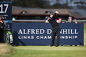 3rd October 2017, The Old Course, St Andrews, Scotland; Alfred Dunhill Links Championship, practice round; England's Callum Shinkwin tees off on the seventeeth hole on the Old Course, St Andrews during a practice round prior to the Alfred Dunhill Links Championship