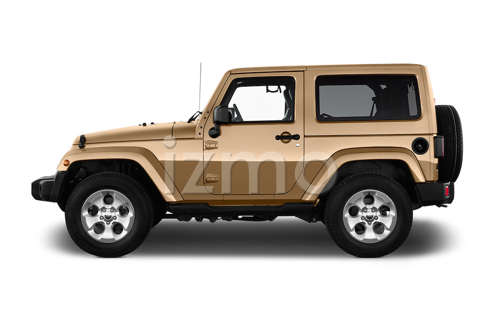 Car Driver side profile view of a 2016 JEEP Wrangler Sahara 5 Door SUV Side View