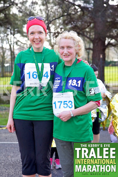 1634 Kay O'Gorman 1753 Anne Walsh pictured at the finish line of  the Kerry's Eye, Tralee International Marathon on Saturday March 16th 2013.