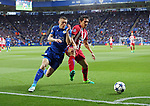 Leicester's Jamie Vardy tussles with Atletico's Stefan Savic during the Champions League Quarter-Final 2nd leg match at the King Power Stadium, Leicester. Picture date: April 18th, 2017. Pic credit should read: David Klein/Sportimage