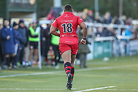 ALEXIS of Jersey Reds leaves the field after receiving a yellow card during the Greene King IPA Championship match between Ealing Trailfinders and Jersey Reds at Castle Bar , West Ealing , England  on 22 December 2018. Photo by David Horn.
