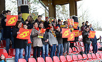 20150404 - FORST , GERMANY  : Belgian Fans pictured during the soccer match between Women Under 19 teams of Belgium and Ukraine , on the first matchday in group 5 of the UEFA Elite Round Women Under 19 at WaldseeStadion , Forst , Germany . Saturday 4th April 2015 . PHOTO DAVID CATRY