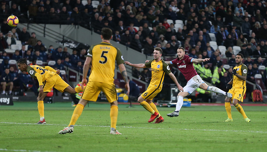 West Ham United's Marko Arnautovic with a second half shot<br /> <br /> Photographer Rob Newell/CameraSport<br /> <br /> The Premier League - West Ham United v Brighton and Hove Albion - Wednesday 2nd January 2019 - London Stadium - London<br /> <br /> World Copyright © 2019 CameraSport. All rights reserved. 43 Linden Ave. Countesthorpe. Leicester. England. LE8 5PG - Tel: +44 (0) 116 277 4147 - admin@camerasport.com - www.camerasport.com