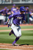 Zach Watson (9) of the LSU Tigers hustles down the first base line against the Georgia Bulldogs at Foley Field on March 23, 2019 in Athens, Georgia. The Bulldogs defeated the Tigers 2-0. (Brian Westerholt/Four Seam Images)