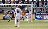 Genaro Snijders of Notts County scores his side's first goal during the Sky Bet League 2 match between Newport County and Notts County at Rodney Parade, Newport, Wales on 30 April 2016. Photo by Mark  Hawkins / PRiME Media Images.