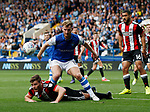Jack O'Connell of Sheffield Utd tussles with Tom Lees of Sheffield Wednesday during the Championship match at the Hillsborough Stadium, Sheffield. Picture date 24th September 2017. Picture credit should read: Simon Bellis/Sportimage
