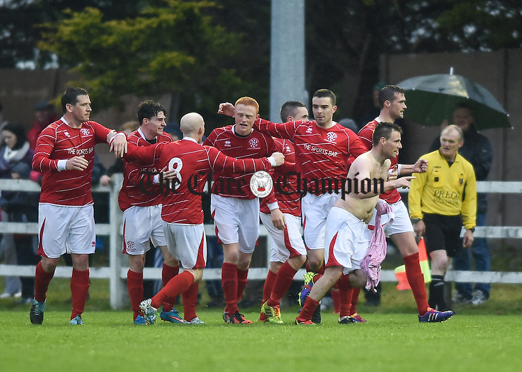 David Mc Carthy and team mates of Newmarket Celtic celebrate another goal against  Bridge United during their Cup final at Doora. Photograph by John Kelly.