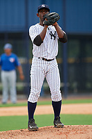 GCL Yankees East relief pitcher Anderson Severino (7) gets ready to deliver a pitch during the second game of a doubleheader against the GCL Blue Jays on July 24, 2017 at the Yankees Minor League Complex in Tampa, Florida.  GCL Yankees East defeated the GCL Blue Jays 7-3.  (Mike Janes/Four Seam Images)