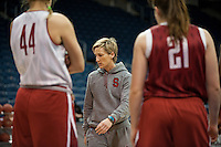 NORFOLK, VA--Assistant Coach Kate Paye works on plays with the Cardinal during an off-day practice session at the Ted Constant Convocation Center at Old Dominion University in Norfolk, VA in the 2012 NCAA Championships. The Cardinal will play West Virginia on Monday, March 19 to qualify for the West Regionals in Fresno.