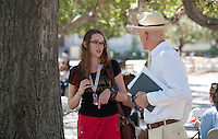 Faculty advisors meet with incoming first-years in the Academic Quad as part of Orientation, August 27, 2012 at Occidental College. (Photo by Marc Campos, Occidental College Photographer)