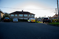 Pictured: A general view of the police scene at Lime Grove Neath, Port Talbot, South Wales, UK. Friday 15 February 2019<br /> Re: South Wales Police are investigating the death of a 76-year-old man in the Cimla area of Neath.<br /> Officers were called to the property in Lime Grove at 9:16pm yesterday evening (Thursday 14th February) following reports of a disturbance.
