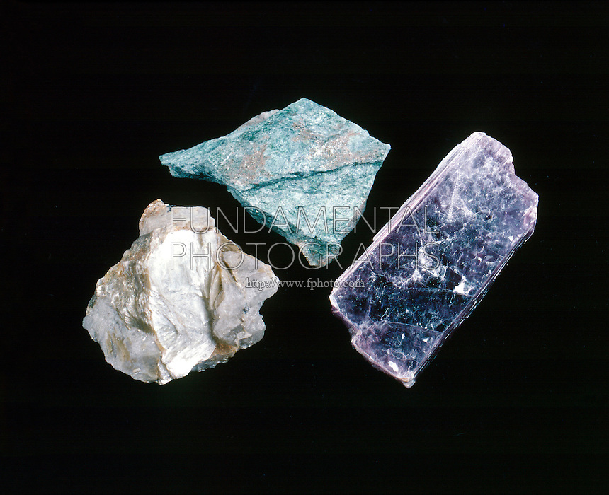 MICA SILICATE MINERALS<br /> Muscovite, Fuchsite and Lepidolite<br /> Left: Muscovite, KAl3Si3O10(OH)2, basic potassium aluminum silicate. Monoclinic,prismatic.<br /> Center: Fuchsite, muscovite w/Cr substituted.<br /> Right: Lepidolite K2Li3Al4Si7O21(OH/F)3, Monoclinic, domatic, basic fluorosilicates of lithium &amp; potassium &amp; aluminum.