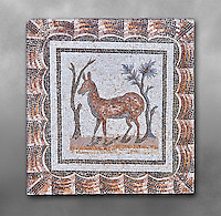 3rd century AD Roman mosaic depiction of two deer between two shrubs. Thysdrus (El Jem), Tunisia.  The Bardo Museum, Tunis, Tunisia. Grey background