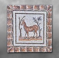 3rd century AD Roman mosaic depiction of two deer between two shrubs. Thysdrus (El Jem), Tunisia.  The Bardo Museum, Tunis, Tunisia. Grey background