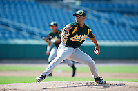 Justus Sheffield #36 of Tullahoma High School in Tullahoma, Tennessee playing for the Oakland Athletics scout team during the East Coast Pro Showcase at Alliance Bank Stadium on August 1, 2012 in Syracuse, New York.  (Mike Janes/Four Seam Images)